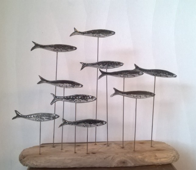 sardines sur bois flotté