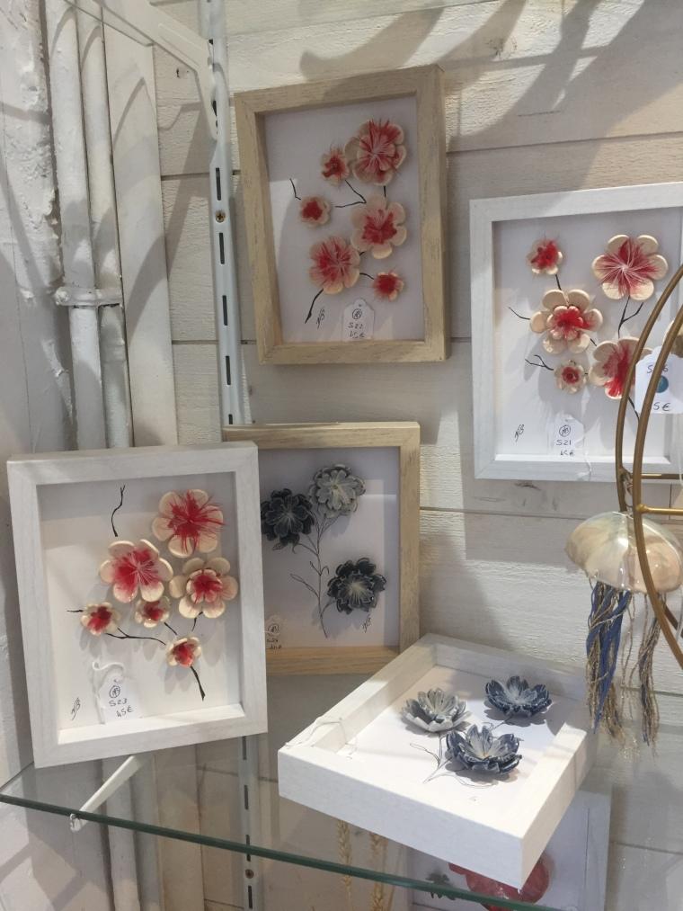 Fleurs en céramique cœur en plume
